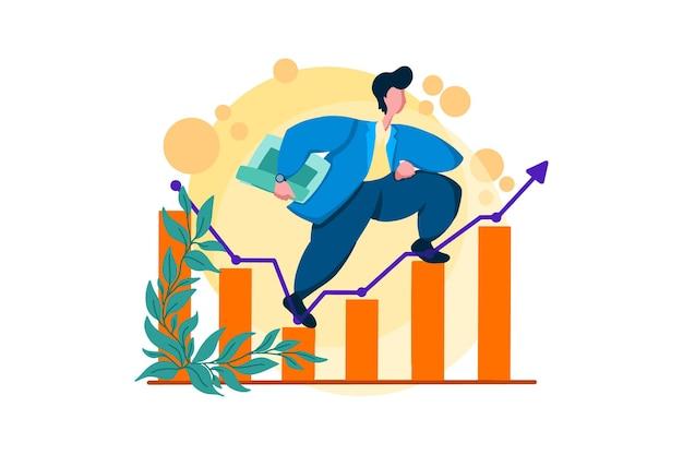Growing business finance web illustration