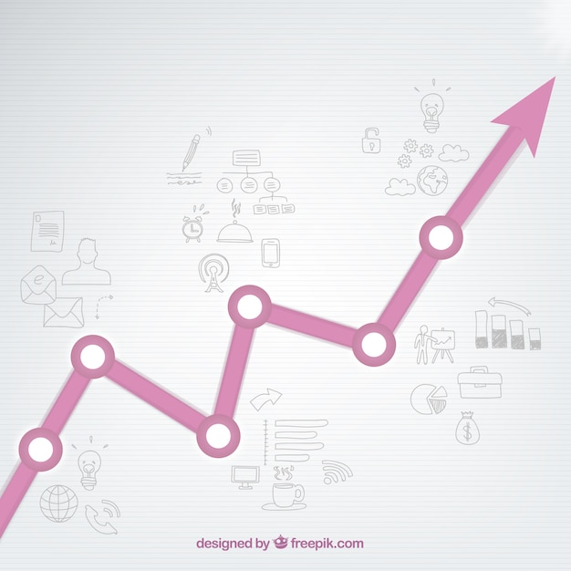 Growing graph with drawings Free Vector