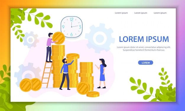 Growing investment project flat vector website Premium Vector