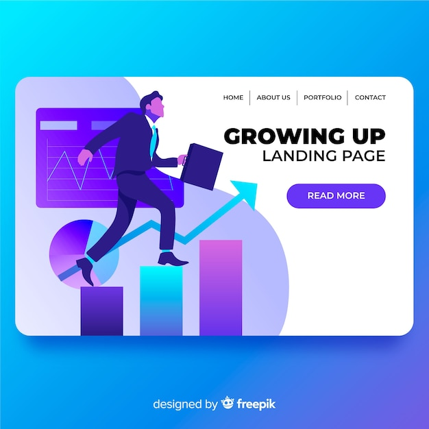 Growing landing page Free Vector