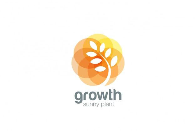 Growing plant logo отрицательный космический стиль. Бесплатные векторы
