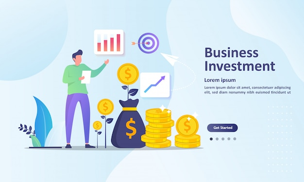 Growing a successful financial landing page template Premium Vector