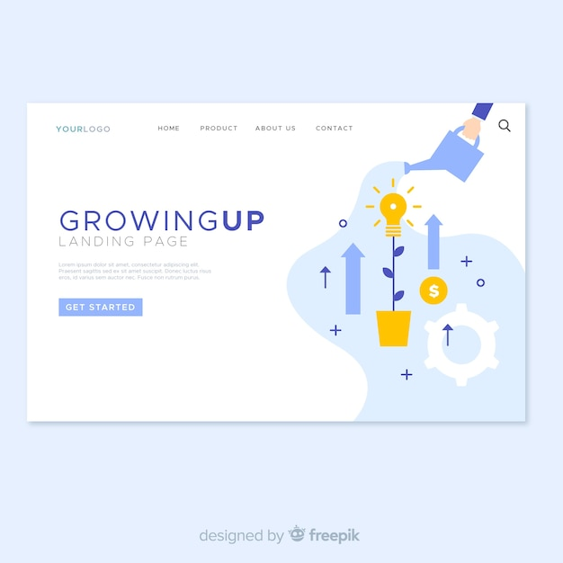 Growing up landing page design Free Vector