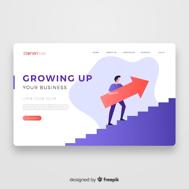 Growing up landing page template Free Vector