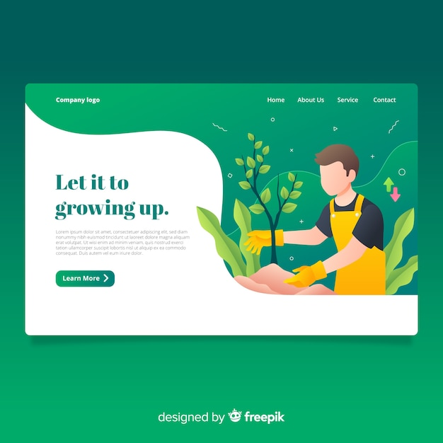 Growing up landing page Free Vector