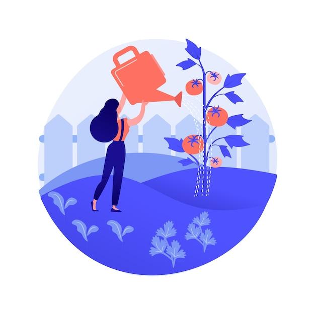 Illustrazione di vettore di concetto astratto di verdure in crescita. giardinaggio domestico per principianti, piantare nel terreno, alimenti biologici, semi di insalata, giardino in contenitori, mangiare metafora astratta di cibo fresco. Vettore gratuito