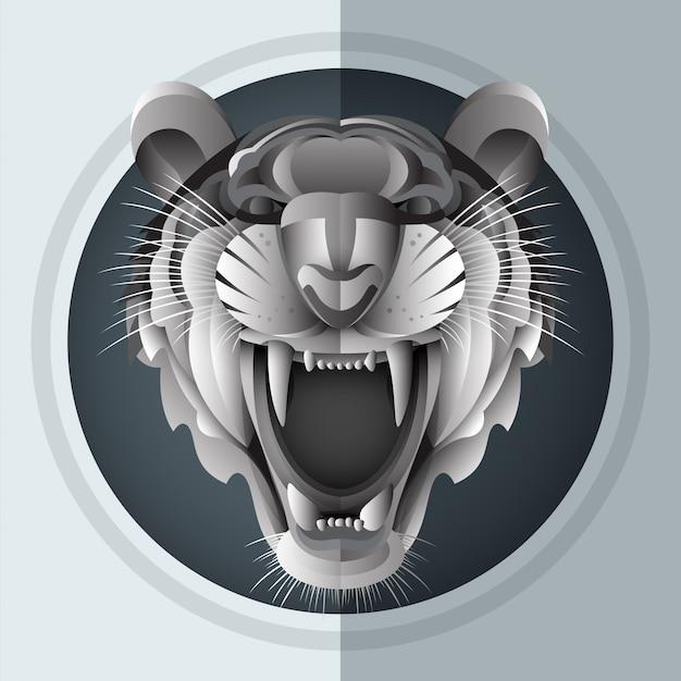 Growl siberian tiger Premium Vector