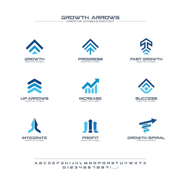 Growth arrows creative symbols set, font concept. finance profit, bank, stock market abstract business logo. increase, grow up chart icon Premium Vector