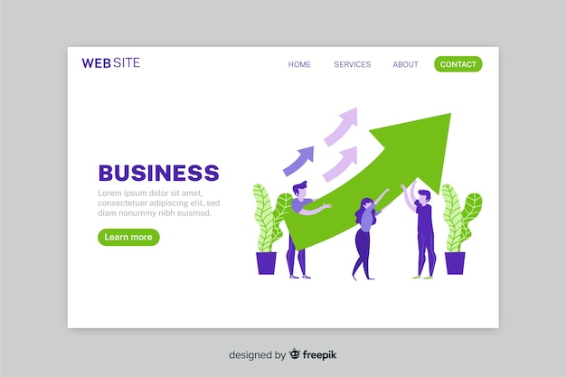 Growth business strategy landing page with arrows Free Vector