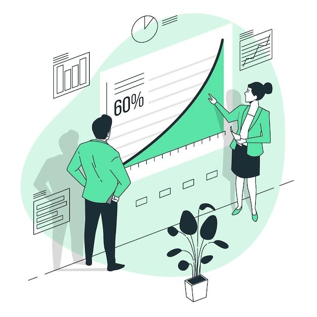Иллюстрация концепции кривой роста Бесплатные векторы