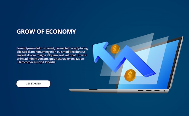 Growth economy by data with 3d illustration of perspective laptop computer and screen with blue bullish arrow and golden money Premium Vector