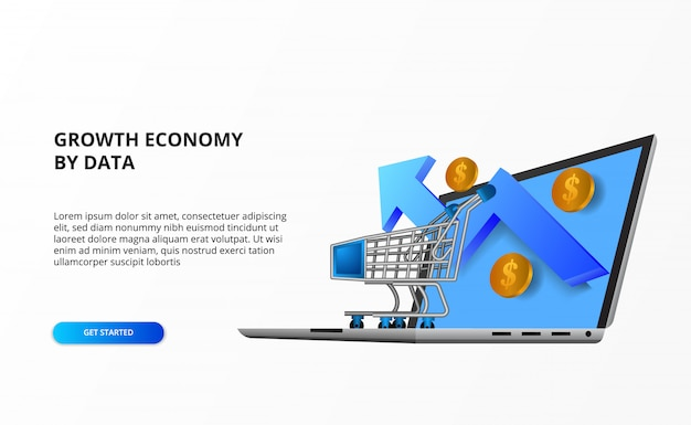 Growth online economy online shopping concept with illustration of trolley, laptop computer, growth up arrow, golden coin money. Premium Vector