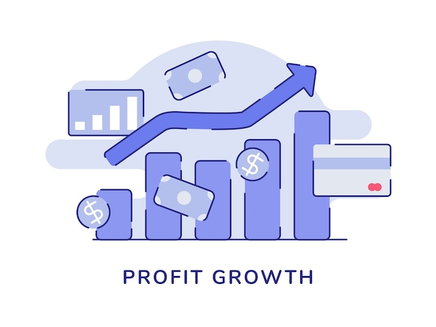 Growth profit concept bar chart arrow positive trend white isolated background Premium Vector