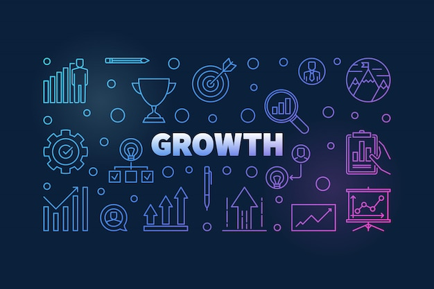 Growth vector colored horizontal background Premium Vector