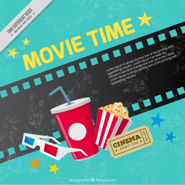 Grunge background of movie elements Free Vector
