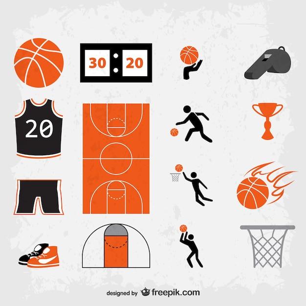 Grunge basketball symbols vector Free Vector