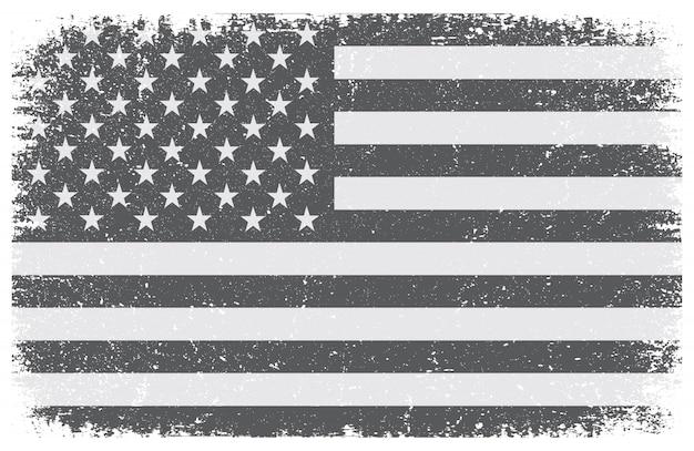 グランジの黒と白のアメリカの国旗 Premiumベクター