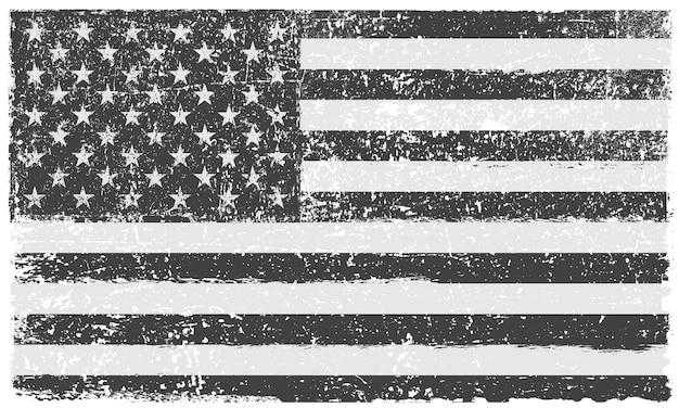 グランジ黒と白のアメリカ国旗 Premiumベクター