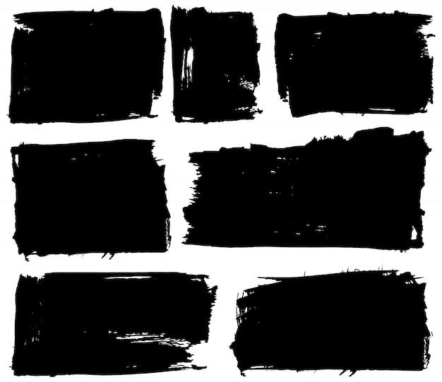Grunge black background set Premium Vector