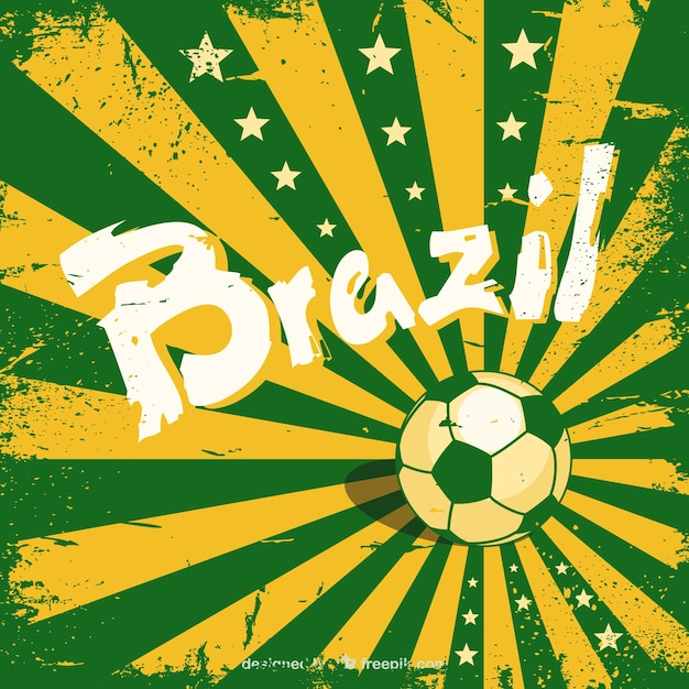 Grunge Brazil background with a soccer ball Free Vector