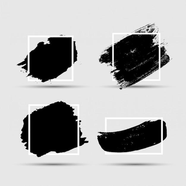 Grunge brush paint ink stroke with square frame backgrounds set.  illustration Premium Vector