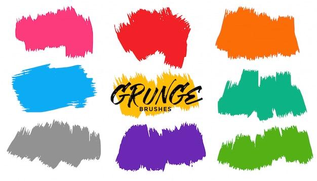 Grunge brush stroke set of nine Free Vector