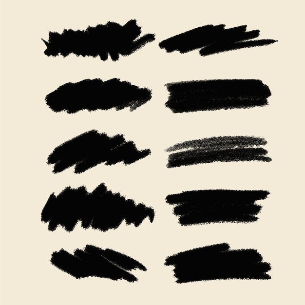 Grunge brush strokes collection Free Vector