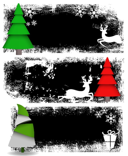 Grunge christmas banners abstract background vector free