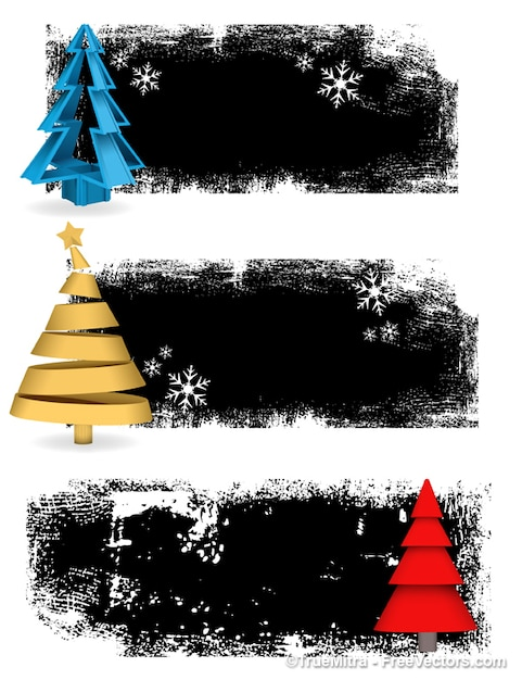 Grunge christmas banners backgrounds vector set