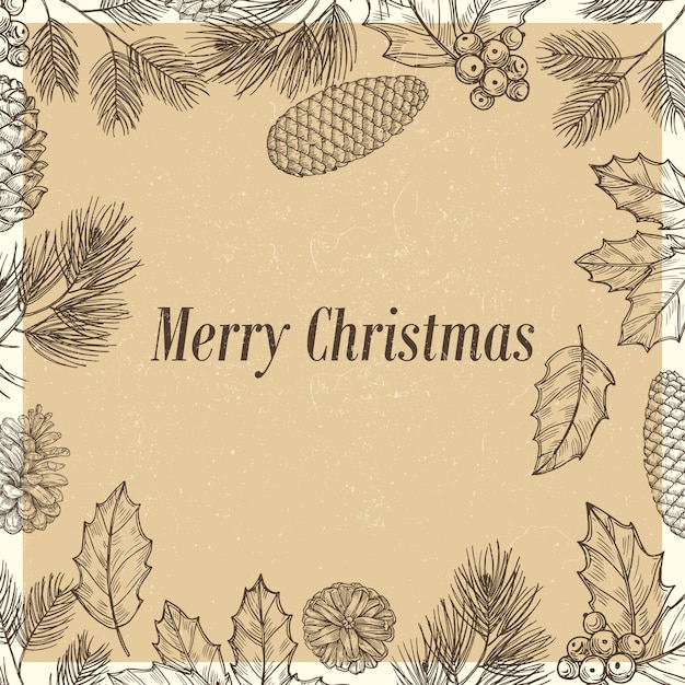 Grunge christmas poster with branches and cones Premium Vector