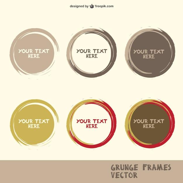 Grunge circle frames Free Vector