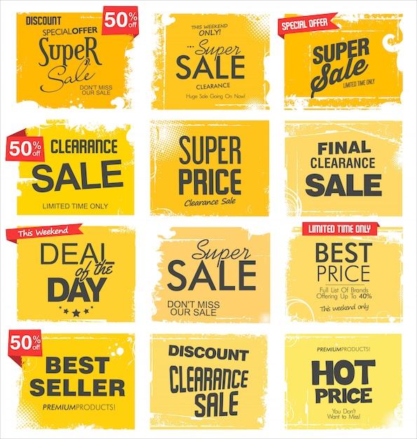 Гранж коллекция продажи фона Premium векторы