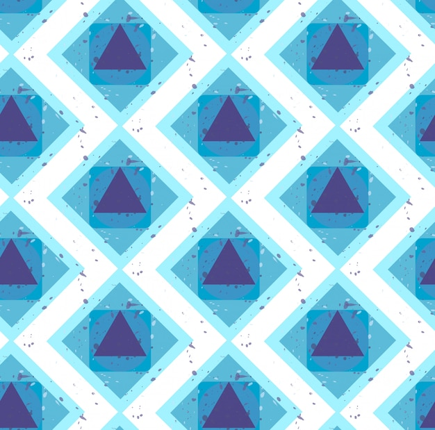 Grunge colorful abstract geometric seamless pattern. vector Premium Vector