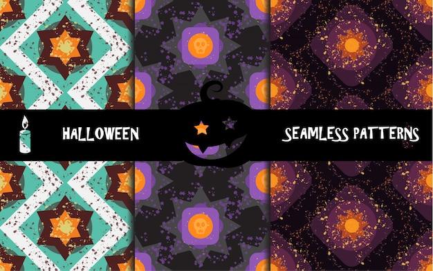 Grunge colorful halloween geometric seamless patterns Premium Vector