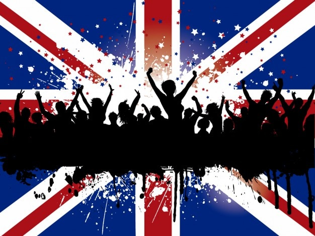 Grunge crowd on a british flag\ background