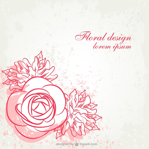 Line Art Flower Vector : Grunge floral line art design vector free download