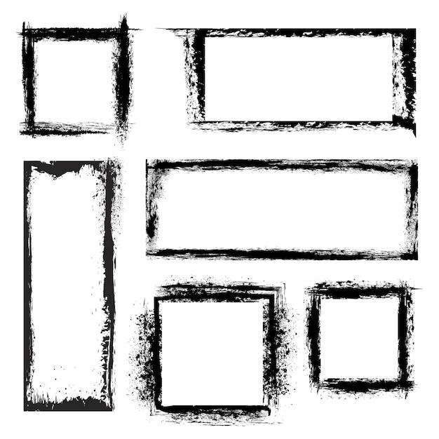 Set di cornici grunge. figure geometriche, schede di raccolta strutturate. illustrazione vettoriale Vettore gratuito