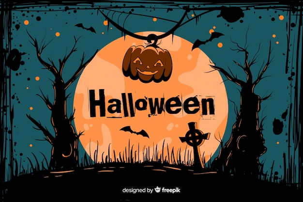 Grunge halloween background cemetery on a full moon Free Vector