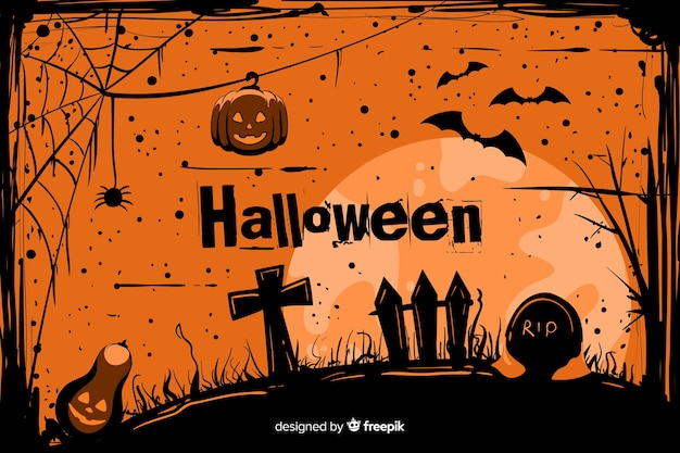 Grunge halloween background in a cemetery Free Vector