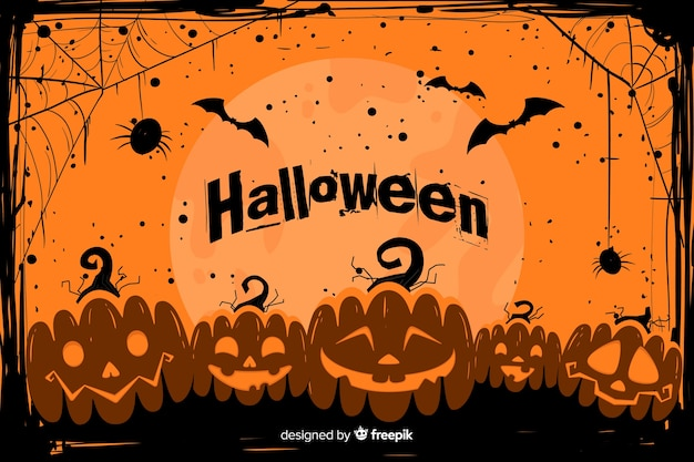 Grunge halloween background with army of pumpkins Free Vector