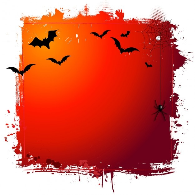 Grunge halloween background with bats and\ hanging spider
