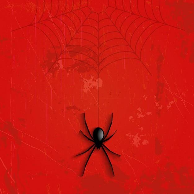 Grunge halloween background with hanging spider Vector ...