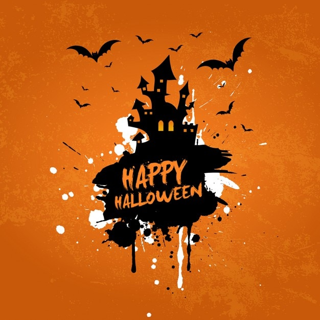 grunge halloween background with haunted house and bats free vector - Show Me Halloween Pictures