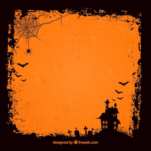 Grunge halloween background with haunted house Free Vector