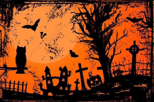 Гранж-фон на хэллоуин Бесплатные векторы