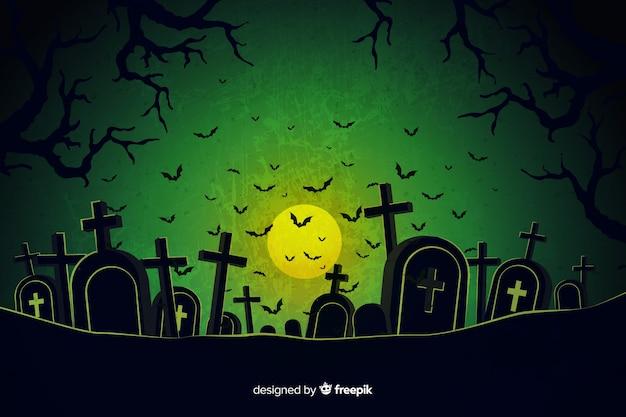 Grunge halloween cemetery background Premium Vector