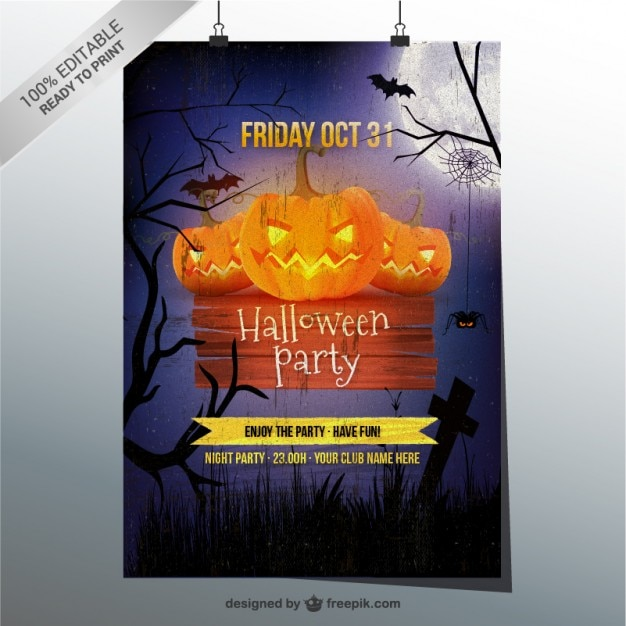 grunge halloween party flyer template vector free download