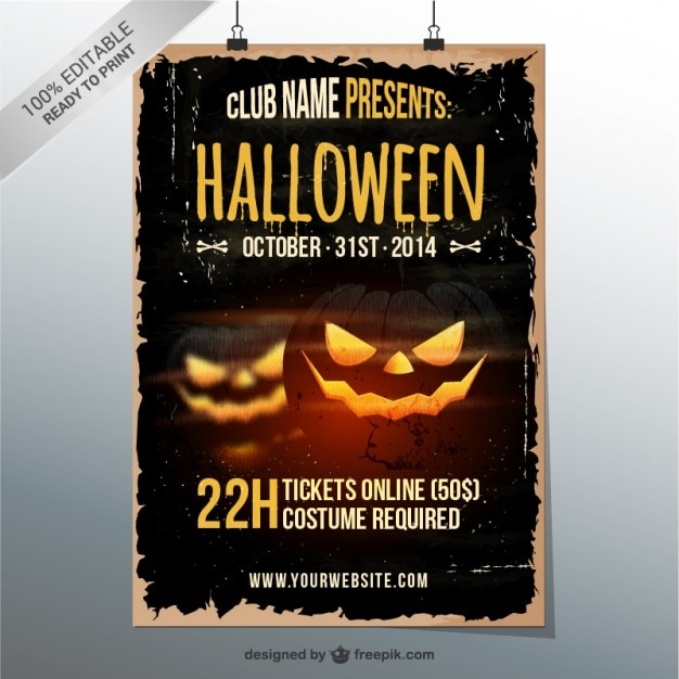 Grunge Halloween party flyer Free Vector