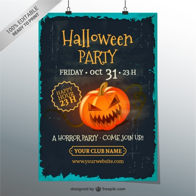 grunge halloween party poster template vector free download. Black Bedroom Furniture Sets. Home Design Ideas