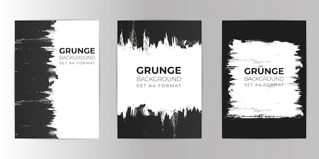 Grunge hand drawn background set a4 format Premium Vector